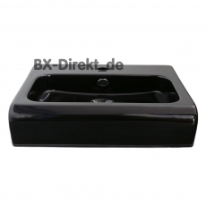 Designer Halbeinbau Waschtisch aus Keramik 65 cm in der Farbe Schwarz Waschbecken auch mit Lotuseffekt