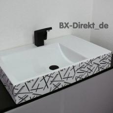 Waschtisch mit Dekor in modernem Design mit Muster in grau und schwarz aus Italien