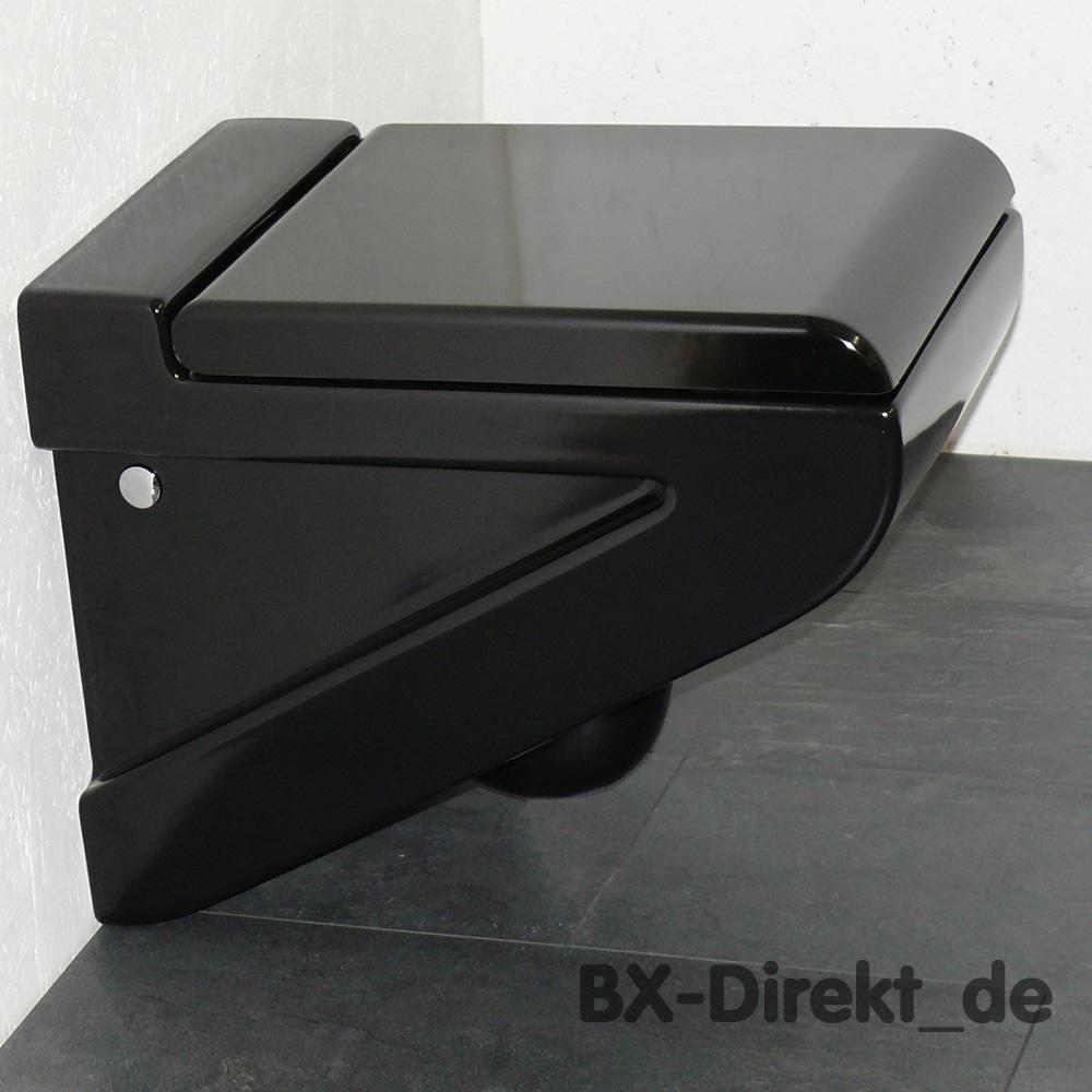 wc in edlem schwarz aus keramik schwarzes klo toilette wandh ngend. Black Bedroom Furniture Sets. Home Design Ideas