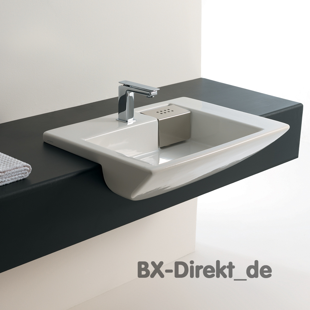 keramik halbeinbauwaschtisch semincasso edelstahl verdeckter ablauf. Black Bedroom Furniture Sets. Home Design Ideas