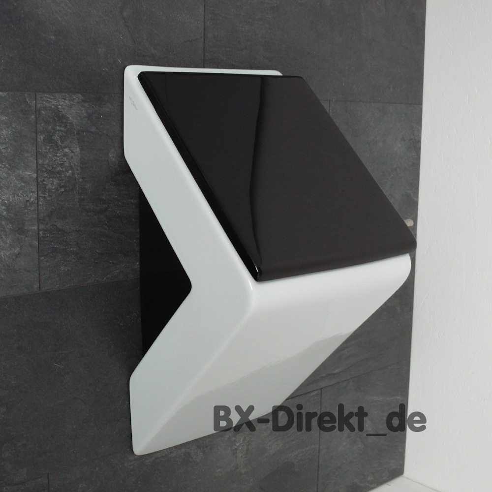 designer pissoir in wei mit schwarzem urinaldeckel und seiten schwarz. Black Bedroom Furniture Sets. Home Design Ideas