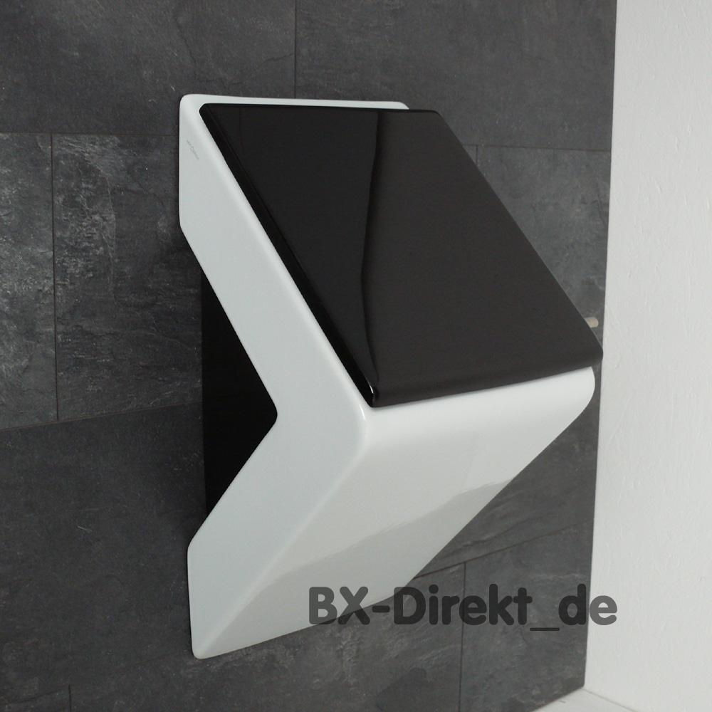 designer pissoir in wei mit schwarzem urinaldeckel und. Black Bedroom Furniture Sets. Home Design Ideas