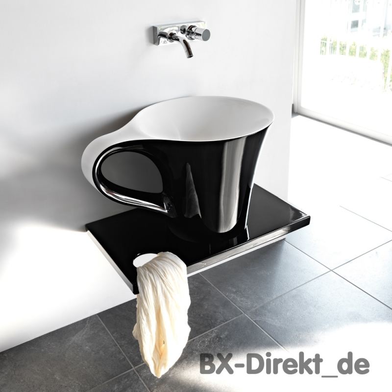 Designer Waschtisch CUP in Form einer Tasse in schwarz + weiss, das Waschbecken - Kaffeetasse