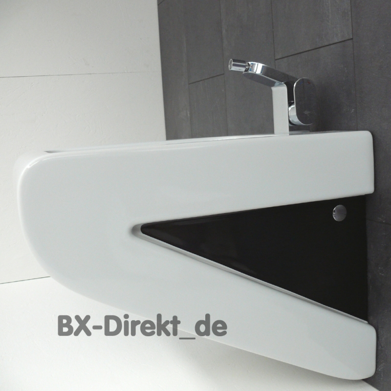 Two-color LaFontana bidet in white and black from the designer ArtCeram from Italy