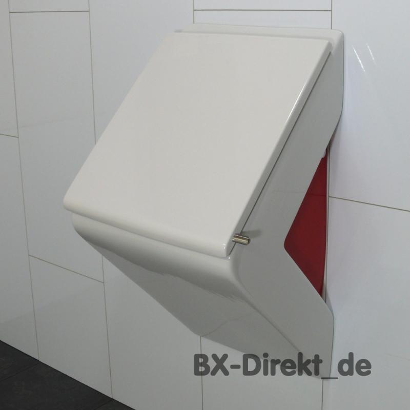 Urinal im rot weiss Design aus Keramik auch mit Lotus-Effekt Nano Beschichtung