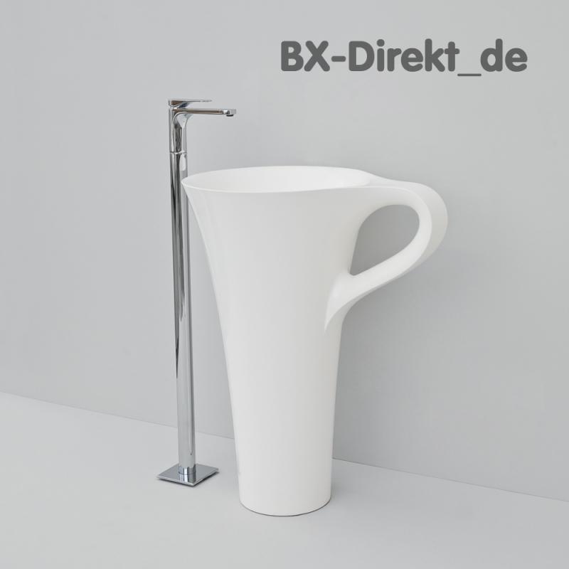 Die Tasse CUP als Standwaschtisch, der freistehende Waschtisch elegant in Weiss