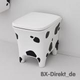 Geniales Kuhflecken Design in Schwarz Weiss WC COW mit Kuhfell Optik Toilette