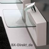 Waschtisch Crystal Wall aus Keramik mit Glasplatte Glas Waschbecken by ArtCeram