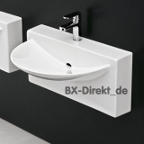 Ceramic washing tabel, the Italian sink WALL Monoblock L790 by Carlo Urbinati