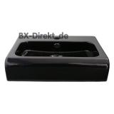 Designer Halbeinbau Waschtisch aus Keramik 65 cm in der Farbe Schwarz Waschbecken optional mit Lotuseffekt