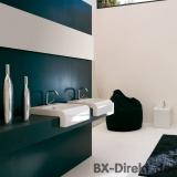 kleiner Keramik Waschtisch Schwarz oder Weiß 45cm breit Halbeinbau-Waschbecken Designer aus Italien