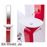 rote Waschsäule mit Keramik Waschschale und Spiegelschrank in Rot, die Waschtischsäule LaFontana