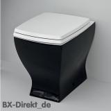 Schwarzes Retro Design Stand-WC auch zweifarbig in Schwarz und Weiss im Vintage Look