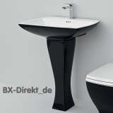 retro style black washbasin with pedestal JAZZ vintage ceramic washbasin