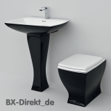 Retro Style Waschtisch schwarz mit Standsäule JAZZ Vintage Waschbecken aus Keramik