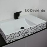 Waschtisch mit Dekor in modernem Design und Muster in grau und schwarz aus Italien