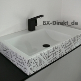Washbasin with decor in black and white the designer washbasin CUBIK with decorative pattern