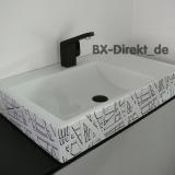 Waschbecken mit Dekor in schwarz-weiss der Design Waschtisch CUBIK mit Dekormuster